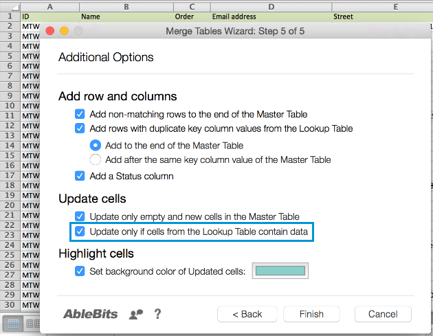 Pick the option Update only if cells from the Lookup Table contain data