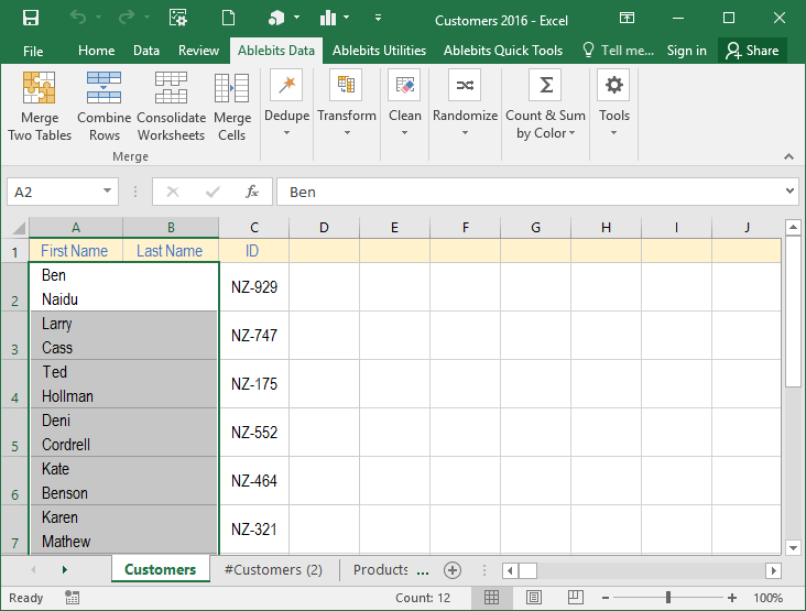 how to add multiple cells office