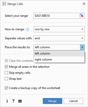 Select the location for the merged values