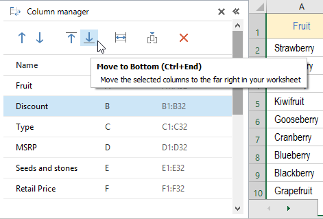 Move the column(s) to the far right on your spreadsheet by clicking the Move to Bottom icon