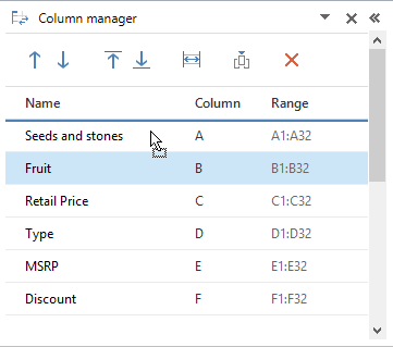 Move a column to the needed location by drag-n-dropping it in the list of columns