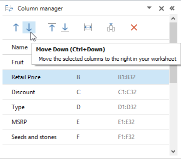 Move the column(s) to the right on your spreadsheet by clicking the Move Down icon