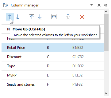 Move the column(s) to the left on your spreadsheet by clicking the Move Up icon