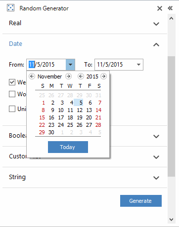 This arrow opens the built-in calendar