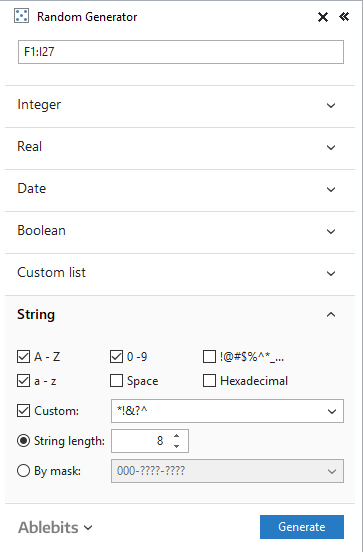 Click the arrows for expanding the Strings section