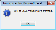 Excess spaces are trimmed from the Excel cells