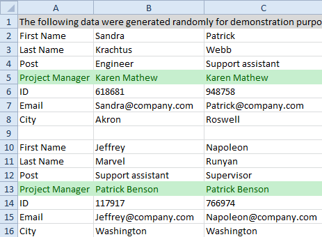 Choose a column with values for the extracted data to be grouped by