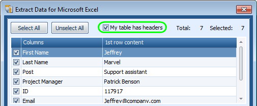 Indicate if there are header rows in your table