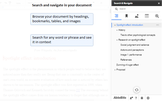 Search Navigate Add On For Google Docs