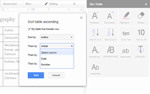 Arrange headings, list items, or table rows in alphabetical order