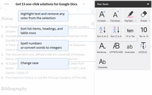 Get 13 single-click solutions for Google Docs