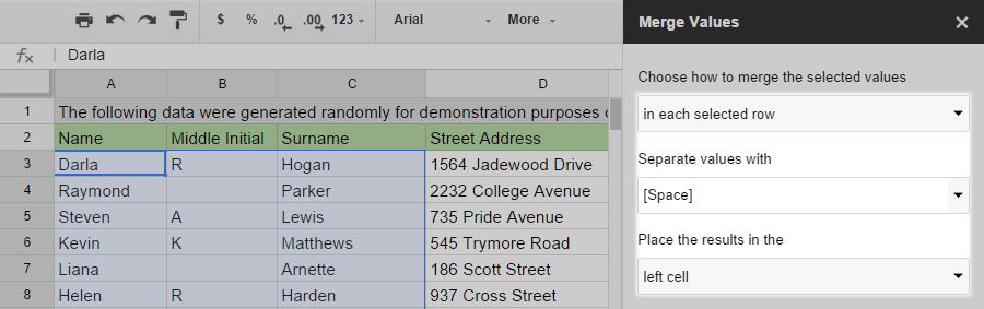 Select In each selected row to merge values within each line