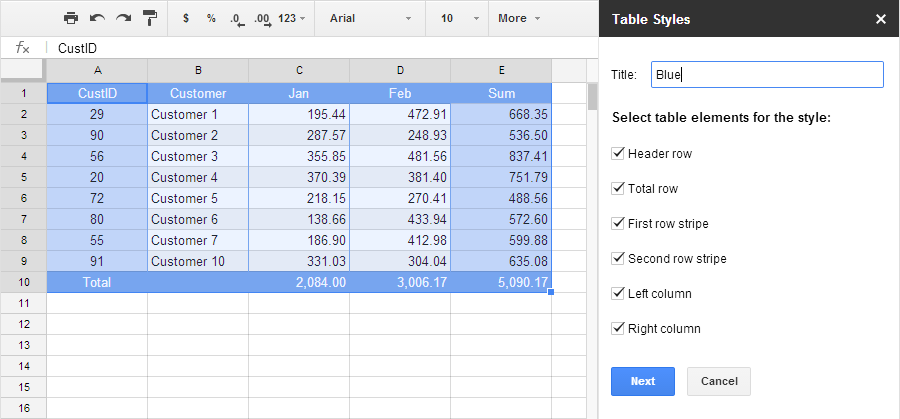 Create table styles in google sheets for Nice table styles