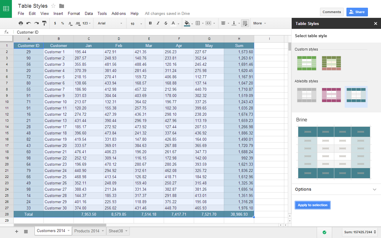 Table Styles Add On For Google Sheets