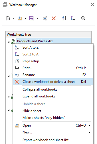 Select Close Workbooks or Delete sheets from the context menu