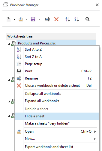 Choose the option to Hide worksheets from the context menu