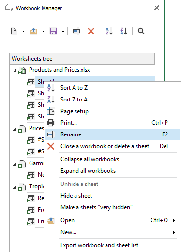 Select this option to rename your worksheet or workbook
