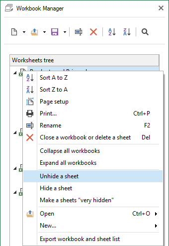 Select the option to unhide sheets to make them visible