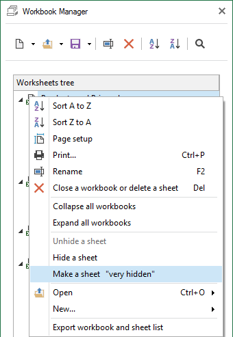 Make Excel worksheet very hidden by choosing this option