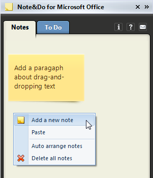 Right-click and choose to add a new note