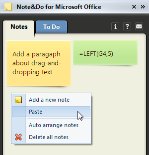 Paste the data into the add-in pane to create a new note