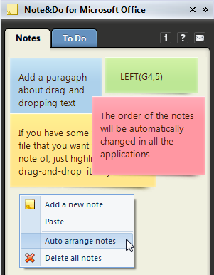 Automatically arrange your notes on the pane