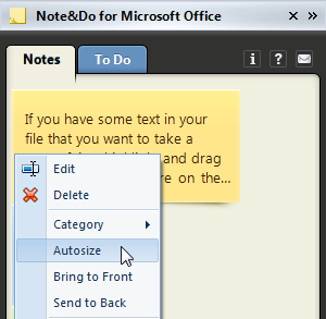 Auto size a note by right-clicking on it and picking the Autosize option