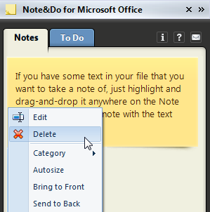 Remove a note by right-clicking on it and selecting the Delete option