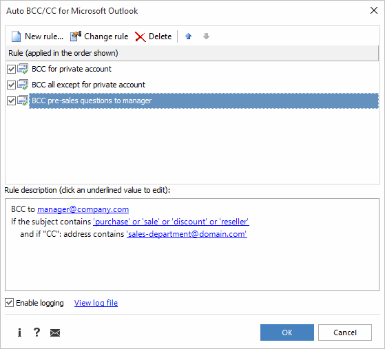 Auto BCC in Outlook 2010