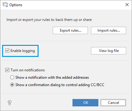 Enable logging of the Auto BCC work