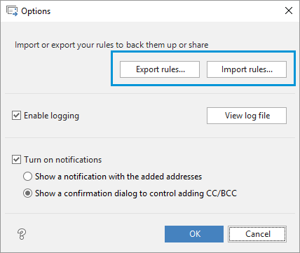 Export and import your Auto BCC rules