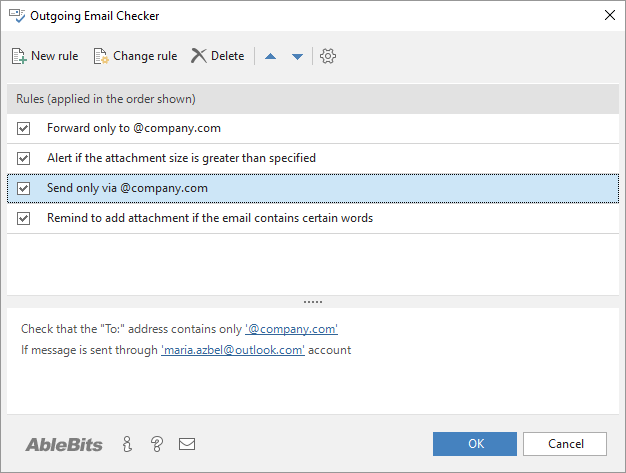 Outgoing Email Checker window in Outlook