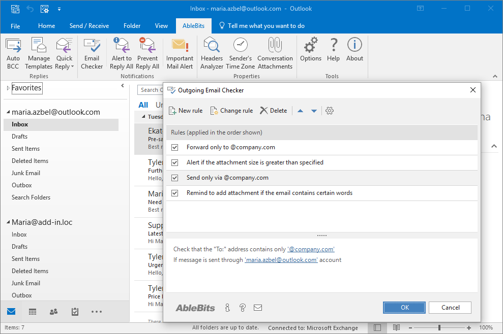 Check Outlook emails before sending them - Outgoing email checker