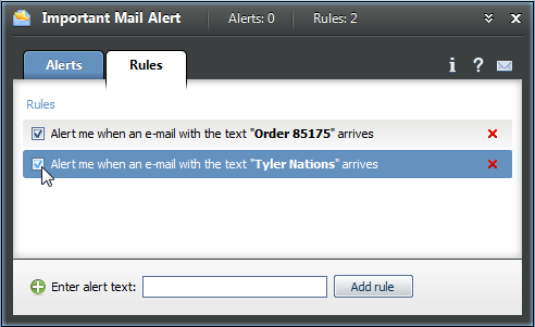 Tick the checkbox next to the alert text to enable a rule