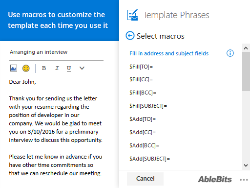 Use macros to customize the template each time