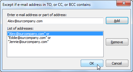 Switching the Silent BCC for Outlook off for some recipients