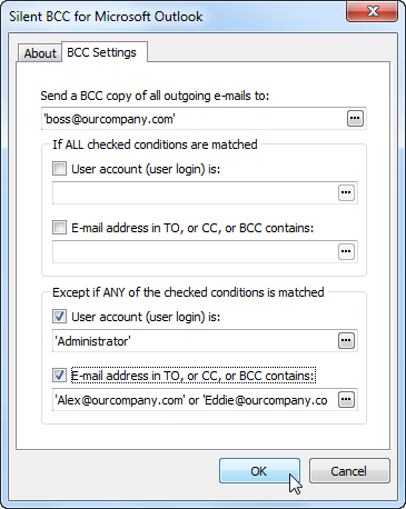 Silent BCC for Outlook administration tool