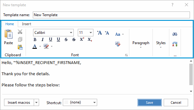 Change text formatting by using the toolbar at the top