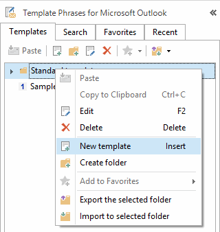 Right-click on the template tree and select the option to create a new template