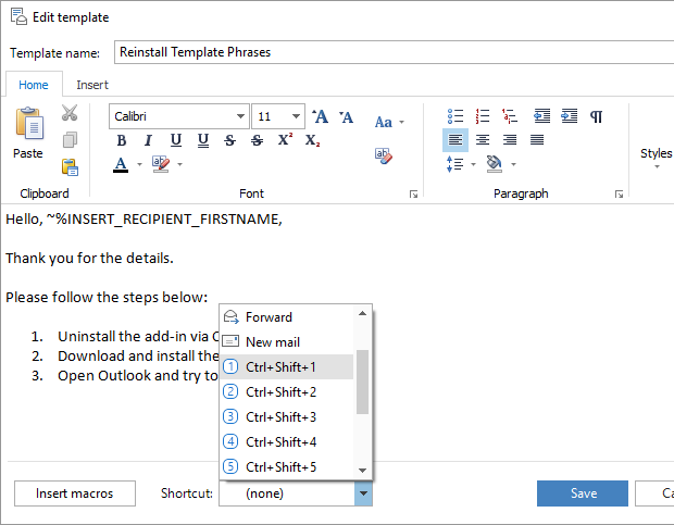 How to use templates in outlook 2016 2013 2007 template for Outlook 2007 template shortcut