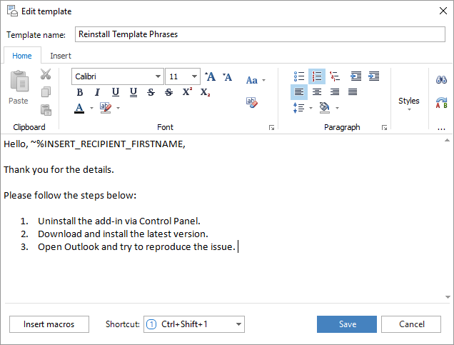 Reply with template in outlook 2016 2013 2007 template for Edit outlook email template