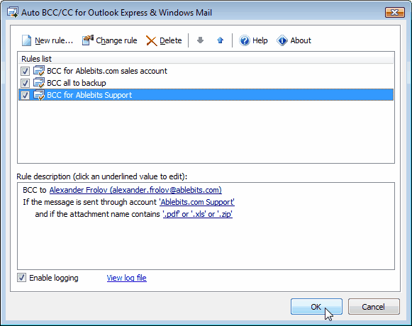 Auto BCC for Windows Mail main window