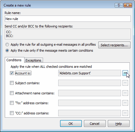 Auto BCC for Outlook Express - creating the rule