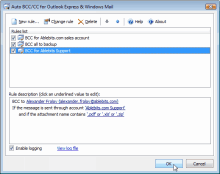 Auto BCC for Outlook Express rules