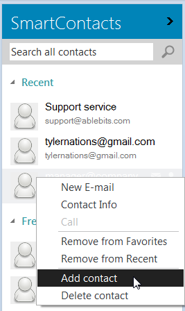 Add the address to Outlook contacts