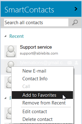 Add the contact to Favorites