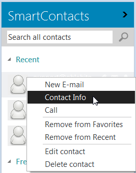 Choose the contact info option to create a message