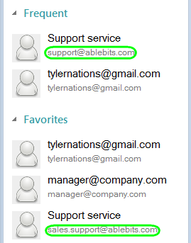 Addresses for certain contact can be different in Recent, Frequent and Favorites if it has several emails.