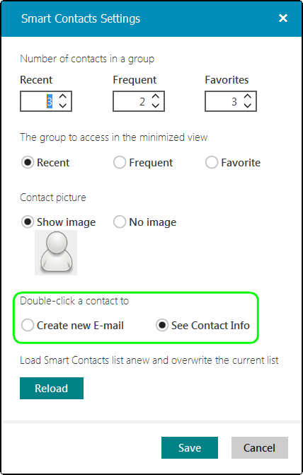 Pick the action to perform when you double-click a contact