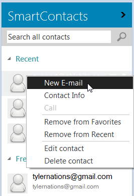 Choose the email option to create a message